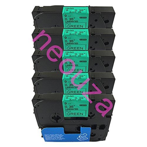 NEOUZA 5PK Compatibile per Brother P-Touch Laminated Tze Tz Label Tape Cartridge 9mm x 5m (TZe-D21 Nero su Verde Fluorescente)