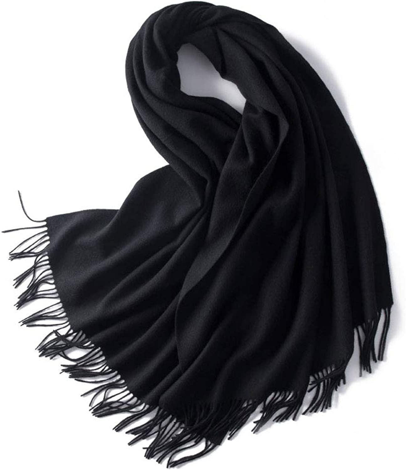 LBY Women's Solid color Soft and Comfortable Shawl Versatile Thick Warm Long Paragraph Large Size Dualuse Scarf Scarf (color   Black)