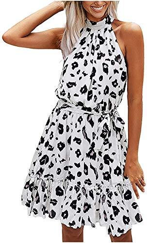 Damen Neckholder Sommerkleid Floral Volant Strandkleid Schulterfrei Minikleider mit Gürtel Business Freizeit Mini Swing Kleider für Elegante...