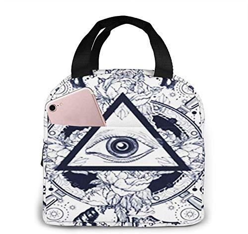 Bolsa de almuerzo con aislamiento Bolsa fresca para cajas de almuerzo Bolso de picnic plegable de tela impermeable para mujeres Hombres adultos Niños Tatuaje de ojo que ve