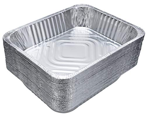 Aluminum Foil Pans (30-Pack) - Disposable Aluminum Foil Deep Pans, Half-Size. Great for Baking, Cooking, Serving Food & Lining Steam-Table Trays/Chafers