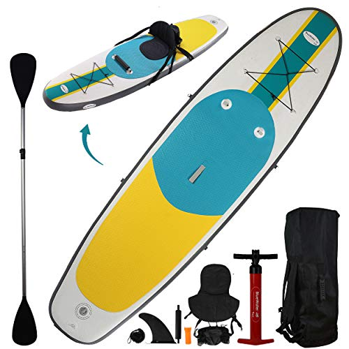 10' Inflatable Stand Up Paddle Board / Kayak And SUP 6 Inches Thick 32 Inch Wide Stance Width |11Piece Accessory Set That Includes Convertible Paddle Kayak Seat Travel Backpack And More