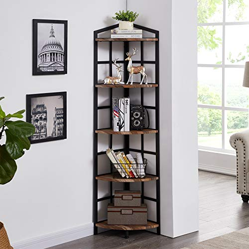 Hombazaar 5-Shelf Industrial Corner Bookcase and Shelf, Standing Tall Corner Bookshelf Display Unit Storage Rack for Home Livingroom Small Space, Retro Brown Finish