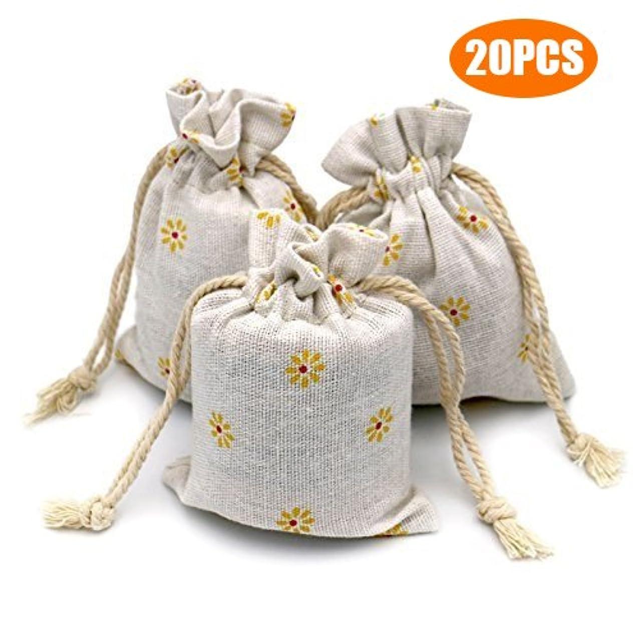 G2PLUS 20 PCS Cotton Burlap Drawstring Pouches Gift Bags Wedding Party Favor Jewelry Bags 3.5'' x 4.7'' (Yellow Daisy) lixagsgkzwtyc478