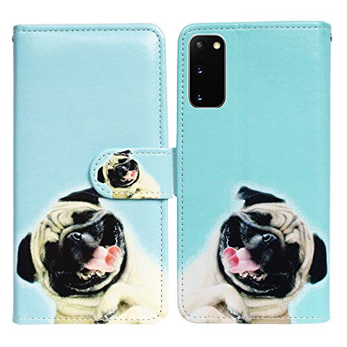 Galaxy S20 Case,Bcov Funny Pug Dog Leather Flip Case Wallet Cover with Card Slot Holder Kickstand for Samsung Galaxy S20