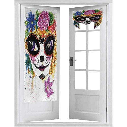 Cortinas francesas para puerta, celebraciones culturales mexicanas tradicionales, acuarelas de maquillaje con cara de niña, 2 paneles-66 x 172 cm, cortinas para ventana, multicolor