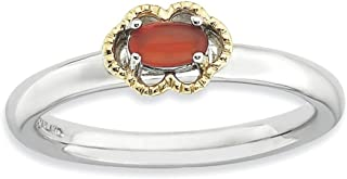 925 Sterling Silver 14k Red Agate Band Ring Stone Stackable Gemstone Natural Fine Jewelry For Women Gifts For Her