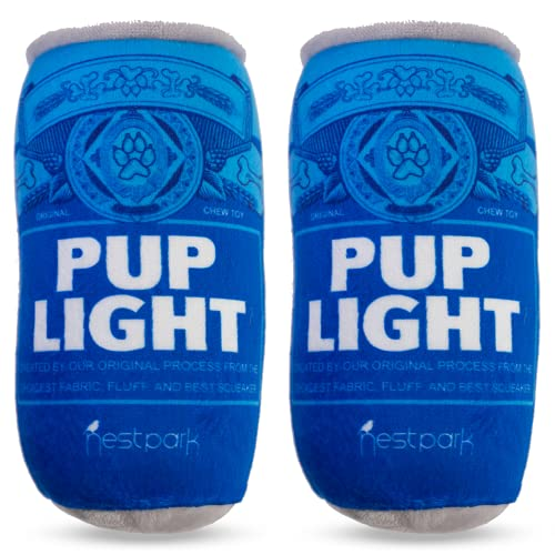 Pup Light and Pups Blue Ribbon - Funny Dog Toys - Plush Squeaky Dog Toys for Medium, Small and Large - Cute Dog Gifts for Dog Birthday - Cool Stuffed Parody Dog Toys (2 Pack) (Pup Light)