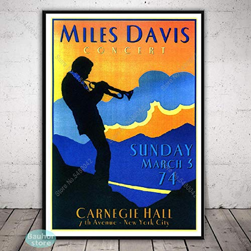 Flduod Miles DaviesJazz Music Star Poster Wall Art Blue Canvas Type Painting Carteles e Impresiones para la decoración del hogar-30x42 CM Sin Marco