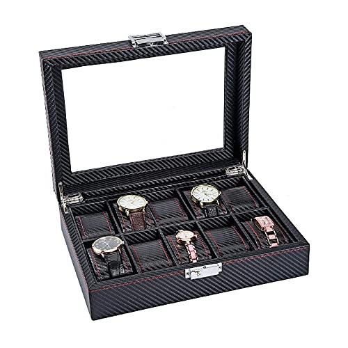 Panduo YLB Caja de Reloj Cajas de Joyas para Hombres Mujeres de Lujo de Lujo con Fibra de Carbono Caja de Almacenamiento 28 * 21.5 * 8cm
