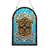 Makenier Vintage Art Nouveau Tiffany Style Stained Glass Blue Arch Window Hanging Window Panel Widnow Pane Window Wall Decor Decoration