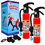 Toy fire extinguishers with Whistles 2 Pack.Shoots Real Water Great for Fireman Toys,Fireman Costume, Bath,Summer, Outdoor and Indoor Play,.