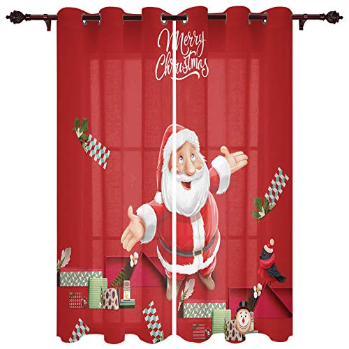 Queen Area Grommet Window Curtains for Adults Room and Kids Room Santa Claus Christmas Theme Red Backdrop Set of 2 Panels for Bedroom and Living Room,40'x 63'