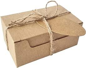 50 قطعة من صناديق تغليف ورق كرافت مع بطاقات وخيش ريش ريفي لصنع هدايا
