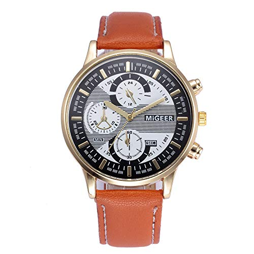 Luckhome Horloge voor dames en heren horloge armband vrouwen met lederen armband zakelijk klassiek analoog kwarts dun design leer retroband legering A-linie ich Ich
