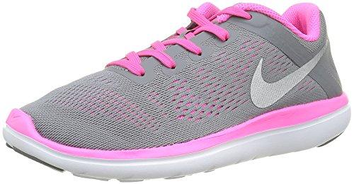 Nike Nike Mädchen Flex Run GS Laufschuhe, Schwarz (Cool Grey/Metallic Silver Black Pink BlastCool Grey/Metallic Silver Black Pink Blast), 38 EU