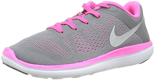 Nike Flex 2016 RN (GS) Running Trainers 834281 Sneakers Shoes (4.5 Big Kid M, Cool Grey Metallic Silver Pink 006)