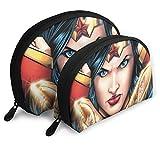 Wonder Woman Borse portatili a forma di conchiglia Pochette da viaggio Borsa da toilette impermeabile da viaggio Cerniera a fascia per borse da donna Organizer 2 pezzi
