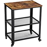 YMYNY Industrial Serving Cart, 3-Tier Kitchen Rolling Utility Microwave Cart, Vintage End Table on Wheels for Living Room, Home Storage with Metal Frame, Easy to Assemble, Rustic Brown UTMJ011H