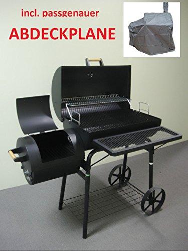 XXL 32kg - KIUG® Smoker + WETTERPLANE BBQ GRILLWAGEN Holzkohle Grill Grillkamin bis 1,5 mm Stahl PROFI QUALITÄT