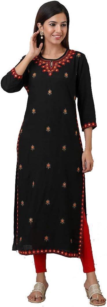 DREAMANGEL FASHION Womens Rayon Embroidered Straight Dress Kurta