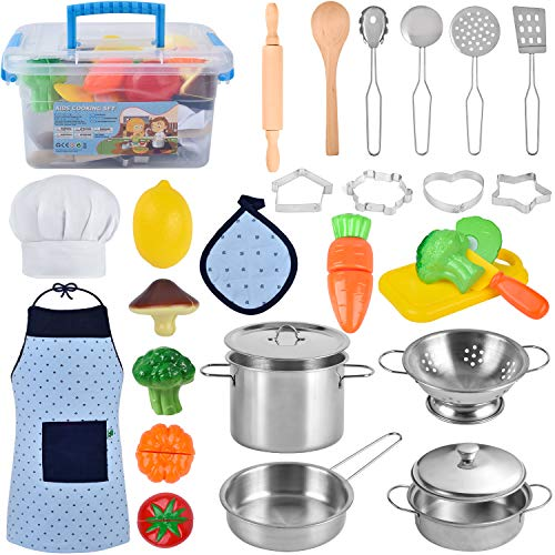 BGdoyz Kitchen Pretend Play Toys, Cooking & Baking Set with Stainless Steel Cookware Pots and Pans Set, Cooking Utensils, Apron & Chef Hat, Cookie Cutters, Rolling Pin, Cutting Vegetables for Kids