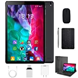2 in 1 Tablets 10 Inch Android 9.0 with Keyboard Mouse, 4GB RAM+64GB ROM/128GB Upgrade Tablets, Dual SIM 4G, Quad Core, 13MP Dual Camera, 8000mAh, WiFi, GPS, Bluetooth, Google Store Phones (Black)