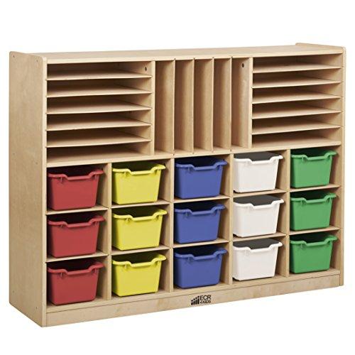 ECR4Kids Birch Multi-Section Storage Cabinet with 15 Scoop Front Bins, Sand