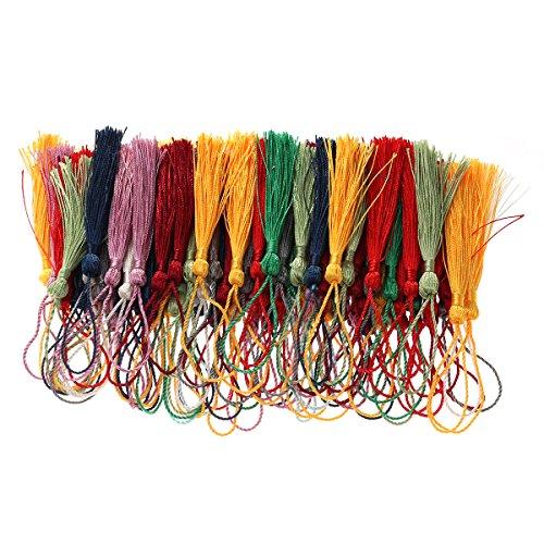 Ultnice 100 pcs décoratifs Mini Pompon en soie pompons pour souvenir étiquette de cadeau - Couleurs mélangées