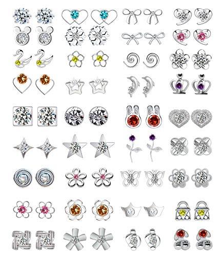 36/42/44 paia assortiti multipli orecchini a perno set di gioielli con carta per le donne ragazze semplice orecchini a cerchio set e Lega, colore: Argento, cod. GUU-0040