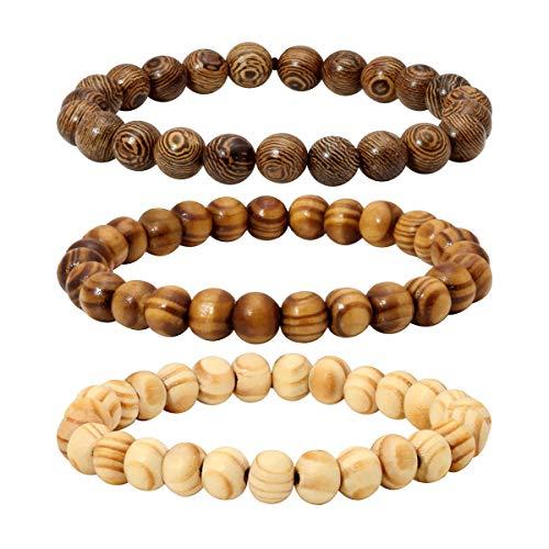 Eigso 3Pcs 8mm Wood Beads Bracelet Set for Men Women Mala Prayer Meditation Buddha Wrap Bracelet