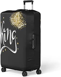 Semtomn Luggage Cover Queen King Word of the and Crown Hand Lettering Graphics Typo Travel Suitcase Cover Protector Baggage Case Fits 18-22 Inch