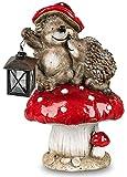 dekojohnson Deko Igel auf Fliegenpilz mit Laterne Tierfigur Herbstdeko Winterdeko Gartenfigur Gartendeko Erntedankdeko Windlicht Igelfigur 25x25x42cm