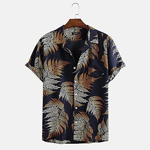 RFEGEF Funky Camisa Hawaiana,Men Hawaiian Shortsleeve Hawaiian Button Shirts Vintage Bohemian Tropical Leaves Printed Tops Casual Quick Dry Short Sleeve Summer Holiday Party Beach Shirt,Navy Blue,XXL