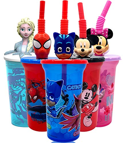 PJ Masks Cartoon Water Tumbler with 3D Character Head Straw Drinkware - Safe BPA Free Bottles, Easy to Clean, for Kids Boys Girls Toddlers for Home Travel Goodies