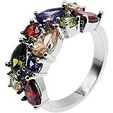 Multi Gemstone Ring Morganite Garnet Amethyst Peridot Promise Wedding Party Ring for Girls Women Size 6 to 10 (8)