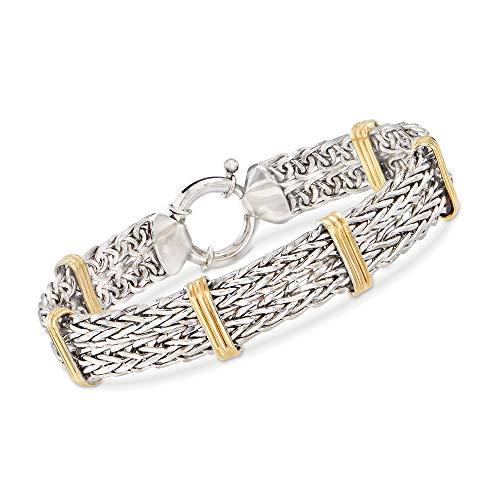 Ross-Simons 2-Tone Double Wheat-Link Bracelet in Sterling Silver and 14kt Gold Over Sterling For Women 7, 8 Inch 925 11.8-13.5 Grams David Yurman Gold Bracelet