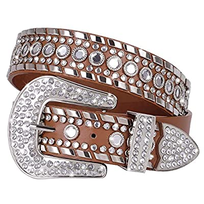 Rhinestone Studded Western Leather Belt - Women Ladies Vintage Cowgirl Bling Design Waist Belts for Pants Jeans Dresses (Brown, Fit pant 29-33 inch)