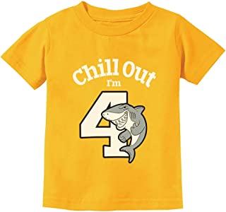 Gift for 4 Year Old Boy Girl Chill Out Shark 4th Birthday Toddler Kids T-Shirt