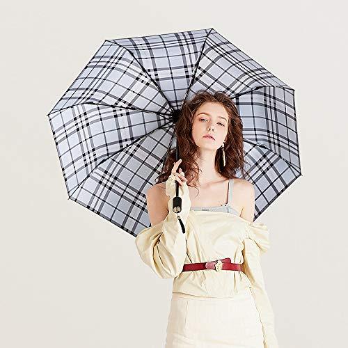 Qeepenl Triple Doble Paraguas Plegable, Vinilo sombrilla, Paraguas de Sol, protección UV, Mujer Doble Uso del Paraguas