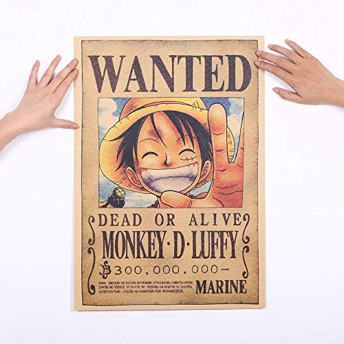 MYTAO Home Decor Wall Stickers Vintage Paper Anime Poster One Piece Carteles Luffy Wanted