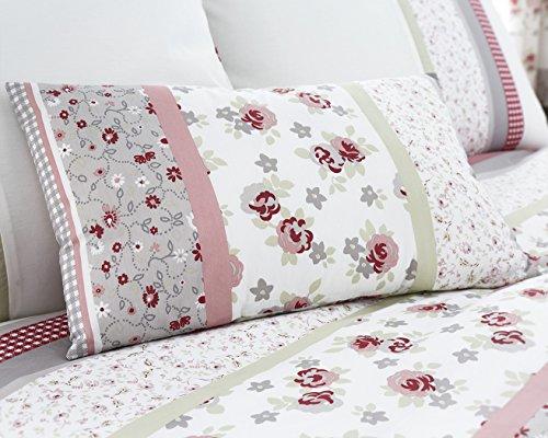 Summer Collection Jardin Floral 200 fils Superbe Printedeasy Care Housse de couette de lit en rose/gris avec gratuit Taie d'oreiller, 35 % polyester/65 % coton/coton/polyester, rose, Boudoir Cushion