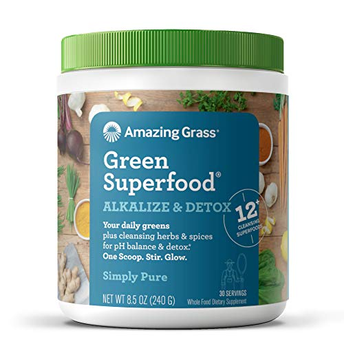 Amazing Grass Green Superfood Alkalize & Detox: Cleanse with Super Greens Powder, Digestive Enzymes & Probiotics, 30 Servings