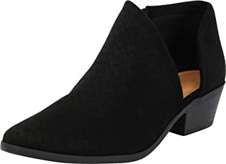 Cambridge Select Women's Perforated Side Cutout Chunky Stacked Heel Shootie Ankle Bootie