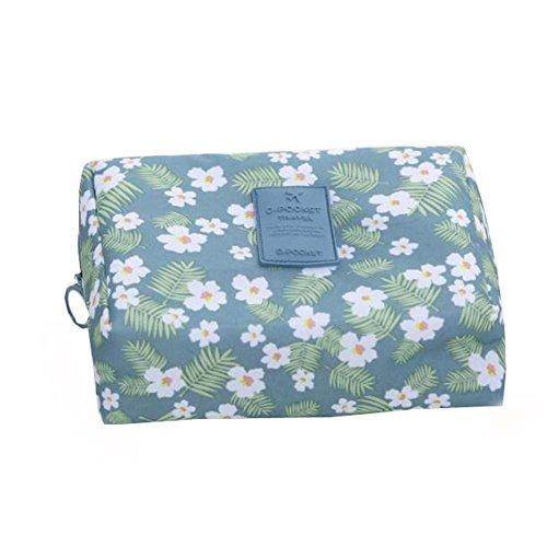 Femmes sac de voyage de sac de voyage de sac de cosmétiques (motif bleu de fleur)