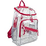 Eastsport Durable Clear Top Loader Backpack with Adjustable Printed Straps (Transparent/Red)