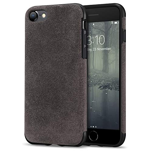 TENDLIN Kompatibel mit iPhone SE 2020 Hülle/iPhone 7 Hülle/iPhone 8 Hülle Aus Alcantara Material Schutzhülle TPU Hybrid Komfortable Handyhülle (Braun)
