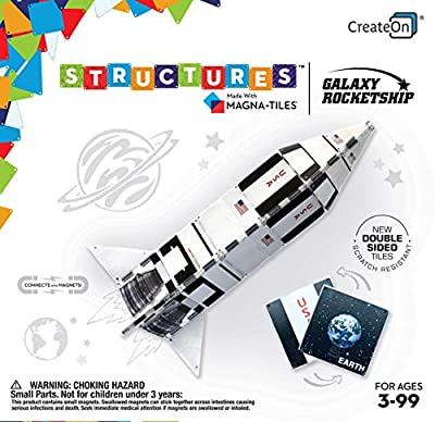 CreateOn Galaxy Rocket Magna-Tile Structure Set, Award Winning Educational Magnetic Tile Set. Makes Learning About Our Planets Fun!! Stem Approved