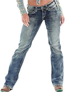 QitunC Mujer Vaqueros Anchos Boyfriend Jeans Retro Rotos Elasticos Rectos Pantalones