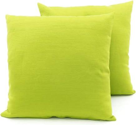 4a8e10d081 BIANCHERIAWEB Coppia Cuscini Arredo Imbottiti Tessuto Ottoman in Tinta  Unita Colore Verde 29 50x50 Verde 29